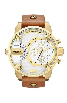 DIESEL® 'Little Daddy' Chronograph Leather Strap Watch, 51mm | Nordstrom $196.90 during Anniversary Sale