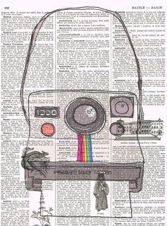 Polaroid Retro Old School Camera Repurposed vintage book page