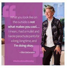 by Ellen DeGeneres Ellen Degeneres And Portia, Ellen And Portia, Ellen White, The Ellen Show, Wall Quotes, Weird Facts, Favorite Person, Monday Motivation, Beautiful Words