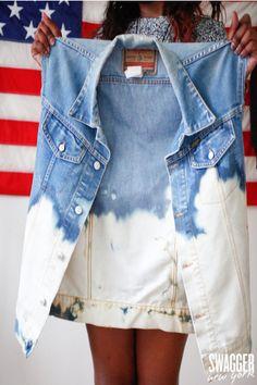 DIY for a guy/girl acid wash denim vest.... 15 minutes :)
