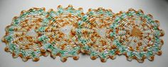 VINTAGE Hand Crocheted Doilies Fall Colors Set by disNdatVINTAGE, $12.00