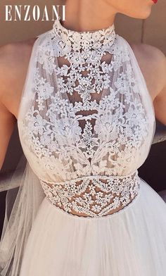 Charming Lace White Halter Long Wedding Dresses Chiffon Beach Bridal Dresses - New ideas Wedding Dress Chiffon, Wedding Dress Trends, Long Wedding Dresses, Wedding Attire, Lace Dress, Prom Dresses, Halter Dresses, Wedding Ideas, Lace Wedding
