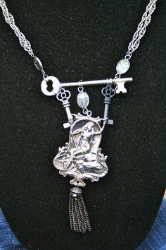 Greek Women Playing Harp Cliff  Key The Sirens of Greek Mythology Vintage parts repurposed Key on Etsy, $150.00