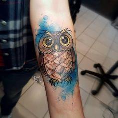 cute owl tattoo on arm