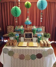 Green, blue and silver birthday party dessert table! See more party planning ideas at CatchMyParty.com!