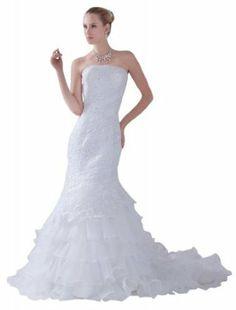 GEORGE BRIDE Strapless Full-Lace Beaded Mermaid Wedding Dress