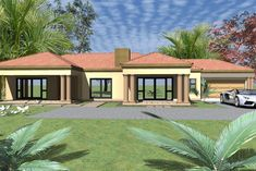 Overall Dimensions- x 1 Car Garage Area- Square meters Beautiful House Plans, Beautiful Homes, Single Storey House Plans, House Plans South Africa, 5 Bedroom House Plans, Flat Roof House, Model House Plan, Free House Plans, House Design Pictures