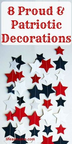 Getting ready to celebrate Memorial Day or plan for the of July? A little home decor is a must! Check out this list of easy and patriotic decorative pieces to get you in the holiday spirit. Country Crafts, Diy Home Decor, Room Decor, Cute Dorm Rooms, Patriotic Decorations, Patriotic Crafts, Valentines Diy, Boho, Fourth Of July