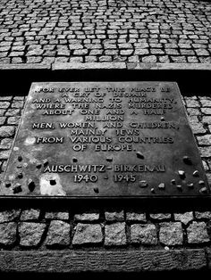 The English language plaque at the monument at Auschwitz II-Birkenau site.