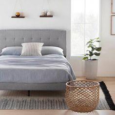 Wood Bed Frame Queen, Bed Frame And Headboard, Grey Bed Frame, Gray Bed, Solid Wood Platform Bed, Platform Bed Frame, Reclaimed Wood Bedroom Furniture, Grey Upholstered Bed, Wooden Bed Frames