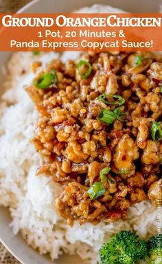 ) - Dinner, then Dessert Ground Orange Chicken is made in one pan and only takes 20 minutes using a Panda Express copycat sauce. So much healthier than the original! Ground Turkey Recipes, Healthy Ground Chicken Recipes, Keto Chicken, Chicken Meals, Rotisserie Chicken, Grilled Chicken, Baked Chicken, Healthy Dinner Recipes, Cooking Recipes
