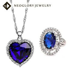 Neoglory Titanic Ocean Heart Pendant Crystal Necklace & Zircon Ring Romantic Statement Jewelry Set for Women Female Christmas