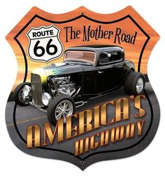 Huge Route 66 Mother Road America Metal Sign-hot Rod-classic-shop-rat Fink Style