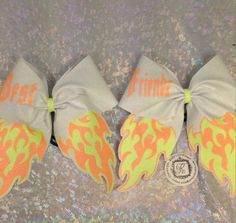 Love the flames Cute Cheer Bows, Big Bows, Cheer Competition Gifts, Softball Uniforms, Cheerleading Bows, Cheer Gifts, Dance Stuff, Best Friend Goals, Junk Drawer