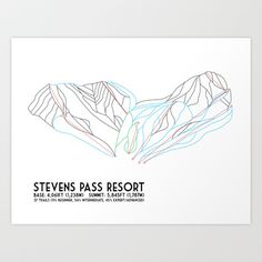 Stevens Pass, WA - Minimalist Trail Map Art Print by CircleSquareDiamond - $16.00