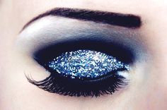 Blue glitter eyeshadow. That's just such a pretty look...no board for this.