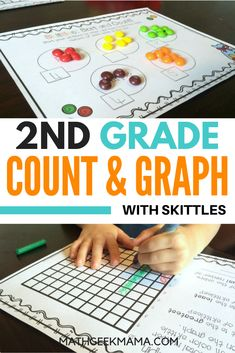 FREE printables to explore important early math activities with Skittles! Kids will count and create bar graphs using candy! Perfect for 2nd grade math! #mathactivities #2ndgrademath #graphing