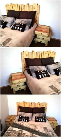 pallet bed headboard with side tables