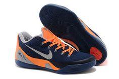 Nike Men Size Kobe 9 EM Dark Blue Orange and Gray Low-Cut Sports Footwear