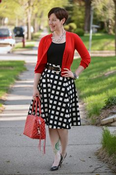 My favorite color combo--red, black, and white! I will need to create a combo like this for spring and summer. The red cardi punches it up.