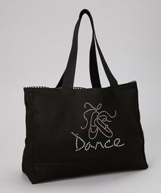 Take a look at this Black Ballet Shoes 'Dance' Rhinestone Tote by Taylor Nicole Designs on #zulily today!