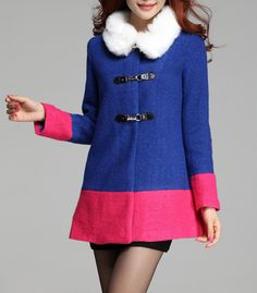 Elegant Style Worsted Long Sleeves Color Block Coat For Women (BLUE,XL) | Sammydress.com
