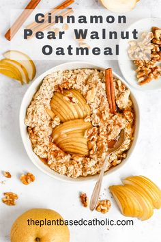 Cinnamon Pear Walnut Oatmeal is a cozy, flavorful breakfast recipe to start off a fall morning. This oatmeal is naturally gluten-free and vegan. It's packed with fiber and healthy fats for a satisfying breakfast. #oatmeal #oatmealrecipes #veganoatmealrecipes #meatlessmonday #meatless #meatlessmeals #nomeat #vegan #glutenfree #oilfree #sugarfree #plantbased #oilfreevegan #sugarfreevegan #glutenfreevegan #wfpb #forksoverknives #catholic #catholiclife #theplantbasedcatholic