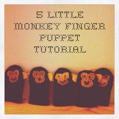 5 little monkey finger puppets
