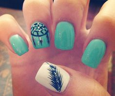 cool nail designs. I like the feather