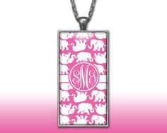 Elephants Hot Pink Monogram Pendant Charm Necklace Personalized Custom Silver Plated Jewelry