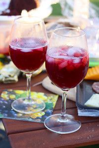 Traditional Sangria, with sugar to balance out the bite of the dry red wine and brandy, and club soda to make it fizzy on your tongue.