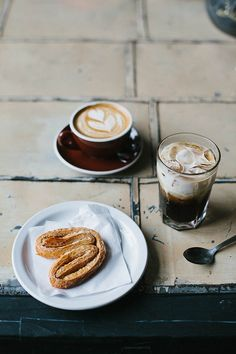 cappuccino, iced coffee and pig's ear