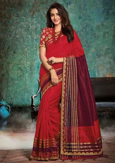 Scenic Scarlet Red and Burgundy Silk Saree