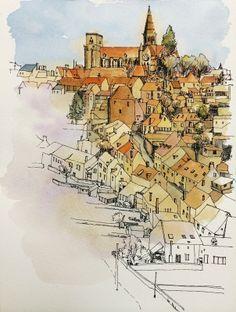 Yiwei Peng urban sketch