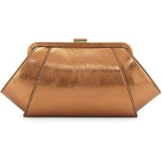 ZAC Zac Posen Metallic Leather Evening Clutch Bag ($106) ❤ liked on Polyvore featuring bags, handbags, clutches, brown, brown handbags, brown leather purse, special occasion clutches, evening handbags and genuine leather purse
