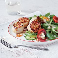 MyPlate-Inspired Fish Entrées | Seared Scallop Salad with Prosciutto Crisps | CookingLight.com