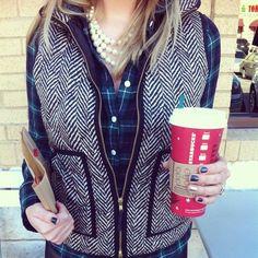 herringbone vest, plaid shirt, pearls