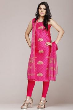 Orange & #Pink #Silk #Cotton #Unstitched #Suit With #Traditional