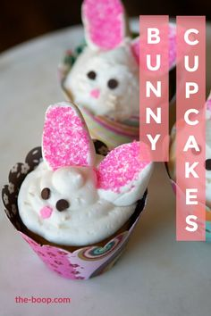 Whether it's Easter or you just love rabbits, these cupcakes come together in a snap! Bunny cupcakes are adorable, kid-friendly, and super fun to make.  #rabbit #cupcakes