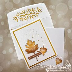 Fall Cards, Holiday Cards, Christmas Cards, Leaf Projects, Leaf Cards, Making Greeting Cards, Thanksgiving Cards, Card Sketches, Scrapbook Cards