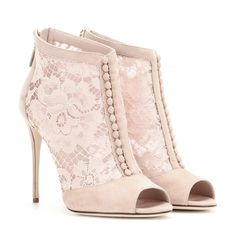 Dolce & Gabbana Lace Peep-Toe Ankle Boots ($1,205) ❤ liked on Polyvore featuring shoes, boots, ankle booties, heels, booties, ankle boots, pink, lace boots, short heel boots and heeled ankle boots