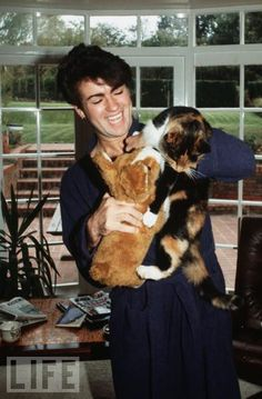 George Michael, half of Wham, musician with a string of driving offences and cat lover.