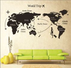 DIY World Trip Map Removable Vinyl Quote Art Wall Sticker Decal Mural Decor New Wall Stickers Travel, Wall Stickers World Map, Wall Stickers Room, Wall Maps, World Map Wall, Travel Wall, Vinyl Art, Map Art, Quote Art