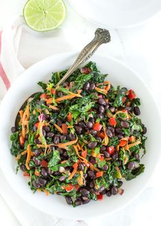 Easy Black Bean and Kale Salad | Gluten free, dairy free, vegetarian, vegan possible recipe | Perfect for lunch all week or as a veggie-packed side dish to serve with dinner.