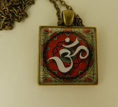 Ohm symbol Meditation Yoga Glass Tile by DesignsofFaithandJoy