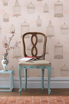 Avian Taupe Bird Cages Wallpaper