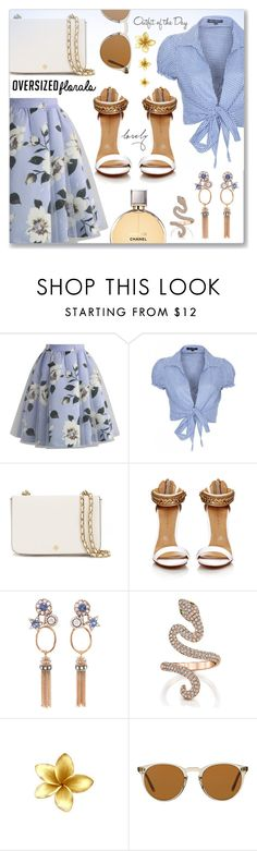 """""""Oversized Florals"""" by dressedbyrose ❤ liked on Polyvore featuring Chicwish, QED London, Tory Burch, Selim Mouzannar, Petit Bateau, Oliver Peoples, Chanel, polyvoreeditorial and oversizedflorals"""
