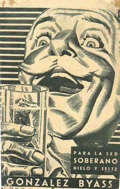 Anuncio de Soberano de González Byass. 1950. Para la sed, con hielo y seltz. Original de Solero. / González Byass Soberano advertisement. 1950. For quenching thirst along with seltzer and ice. A Solero original.