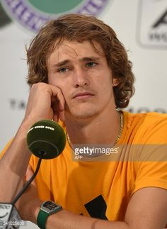 Alexander Zverev of Germany reacts during a press conference after winning the ATP tour tennis match against Roger Federer of Switzerland , in Halle, western Germany, on June 18, 2016. / AFP / CARMEN