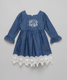 Look what I found on #zulily! Smocked or Not Blue Vintage Lace Monogram Dress - Infant, Toddler & Girls by Smocked or Not #zulilyfinds